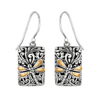 18K Gold & Sterling Silver Dragonfly Rectangle French Wire Drop Earrings