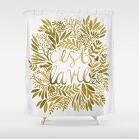 That's Life – Gold on Gold Shower Curtain by Cat Coquillette