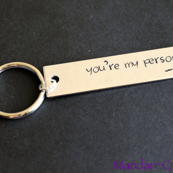 You're My Person Custom Initial Keychain, Hand Stamped Aluminum Bar Key Chain, Fully Personalized, Black Friday Cyber Monday SALE