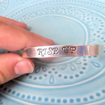 "Hamilton Musical ""Rise Up!"" Lyric Aluminum Cuff Bracelet, Hand Stamped, Hamilfan, Hamilfreak, Hamilton on Broadway Fan Gift"