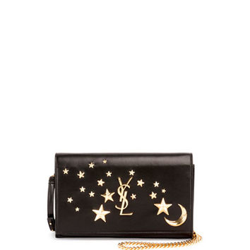 Saint Laurent Monogram Flap Moon & Stars Wallet-on-Chain, Black