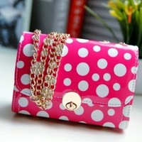 Fashion Refreshing Hasp Design and Polka Dot Print Rose Leather Shoulder Bag