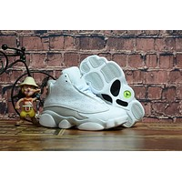 Kids Air Jordan 13 Retro White Sneaker Shoe