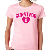 Ligth Pink Survivor Heart Tee