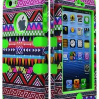 Bastex Hybrid Case for Apple Iphone 5, 5s 5g - Green Silicone / Aztec Tribal Hard
