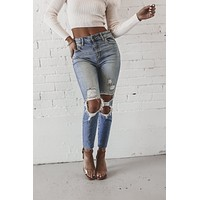 Mimosa For Breakfast High Rise Distressed Mom Jeans