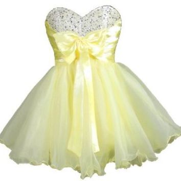 Faironly Mini Short Dress for Cocktail or Homecoming Prom (XS, Yellow)