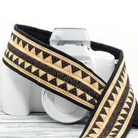 Gold Tribal Camera Strap dSLR or SLR, Southwestern, Replacement Strap for Canon Nikon Pentax cameras, Gold, Black, Aztec, African, 200 w