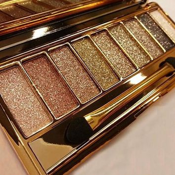 Glow Eyeshadow Palette & Makeup Cosmetic Brush 9 Colors Set Shimmer Fashion