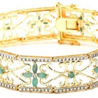 """18k Yellow Gold-Plated Sterling Silver Emerald Bracelet, 7.25"""""""