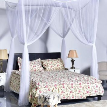 Cool Four Corner Post Bed Canopy Bathroom Camping Mosquito Net Queen Full King SizeAT_93_12