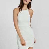 Ivory Ribbed Asymmetrical Sheath Dress from EXPRESS