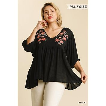 Umgee Plus Size Black Floral Embroidered Babydoll Tunic Top