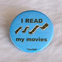Anime 2-Inch Button - I Read My Movies