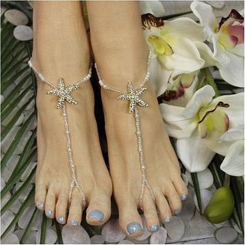 STARFISH barefoot sandals wedding - gold