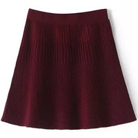 Red Ruched Pleated Skirt