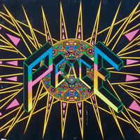 Peace symbol black light poster by Tom Korpalski, crazy colorful and trippy psychedelic imagery, Arcturus Coma