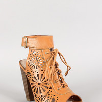 Bamboo Perforated Lace Up Peep Toe Mule Bootie
