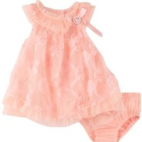 Nannette Baby-girls Newborn 2 Pieces Ruffle Knit Dress And Panty, Guava, 0-3 Months