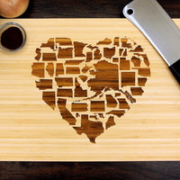 American States Heart Cutting Board (Pictured in Natural), approx. 12 x 16 inches, Engraved Bamboo - Wedding gift, Housewarming gift