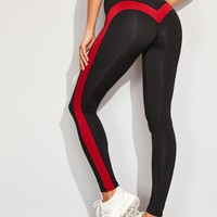Contrast Panel Side Skinny Leggings