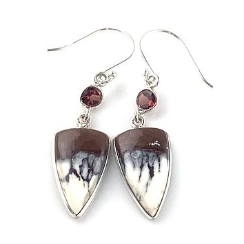 Wild Horse Jasper & Garnet Sterling Silver Earrings