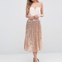 TFNC Pleated Midi Skirt In All Over Sequin at asos.com