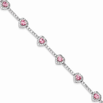 Sterling Silver Pink and Clear Cz Heart Bracelet