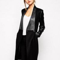'The Scout'  Black Long Sleeved Leather Coat