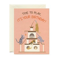 "Playful Cats Birthday Card - ""Time to Play, It's Your Birthday!"""