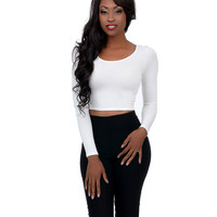 Ivory Long Sleeve Stretch Crop Top