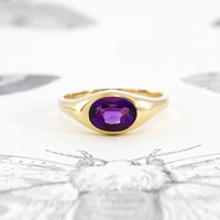 Vintage Amethyst Signet, 14k Yellow Gold Ring Faceted Oval Amethyst Solitaire, Modernist Alternative Engagement, February Birthstone Ring