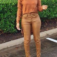 Casual Brown Plain Irregular After Short Before Long Ripped Knit Pullover Sweater