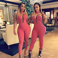 chest hollow out O-neck sleeveless sexy jumpsuit romper fashion backless  bodycon women jumpsuit pink overalls