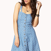 FOREVER 21 Polka Dot Chambray Dress Denim/White Large