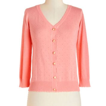ModCloth Vintage Inspired Short Long Sleeve After School Lounging Cardigan in Peach