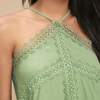 Always Together Sage Green Lace Crop Top