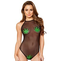 Black Sheer Cannabis Bodysuit