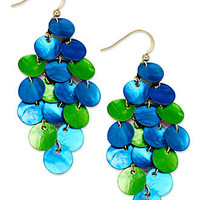 Style&co. Earrings, Gold-Tone Blue and Green Disc Chandelier Earrings - All Fashion Jewelry - Jewelry & Watches - Macy's