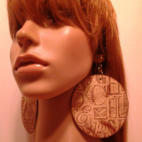 Tan and Cooper Brown Round Fabric Earrings Embellished Alphabet Design, Large Fabric Earrings, Women Earrings, Large Earrings, Big Earrings