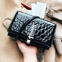 YSL New fashion diamond letter leather chain tassel shoulder bag women black