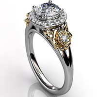 14k two tone white and yellow gold diamond unusual unique floral engagement ring, bridal ring, wedding ring, anniversary ring ER-1098- 4