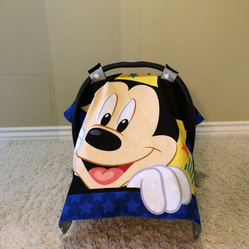 Mickey Mouse Baby Car Seat/Canopy with Backed Colors Choices Soft Dot Minky