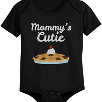 Mommy's Cutie Pie Baby Bodysuit Cute Infant Black Onesuit Gift for Baby Shower