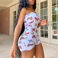 New summer tube top shorts butterfly print brunette style sexy jumpsuit