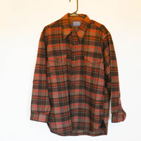 70s vintage flannel / plaid button down / Pendelton brown warm jacket long sleeve fall winter size large L