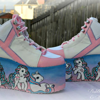 Hand painted little pony inspired platform flatform shoes available in uk 4/uk6 or made to order fairy kei pastel goth,kawaii,kitsch