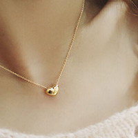 Gold/Silver Plated Heart Pendant Chain Necklace Jewelry 2 Colors