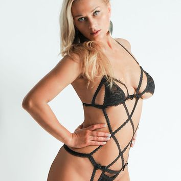 Play Suit Black Floral Lace Teddy Body