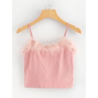 Faux Fur Crop Cami Top Pink
